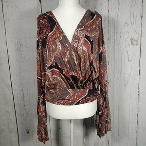 Free People Fiona's Bell Sleeve Surplice Top NWT
